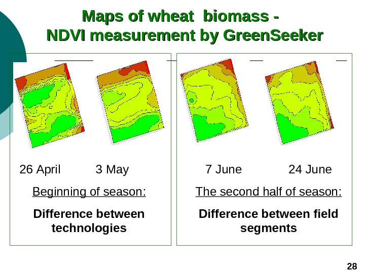 Maps of wheat biomass -  NDVI measurement by Green. Seeker 26 April 3
