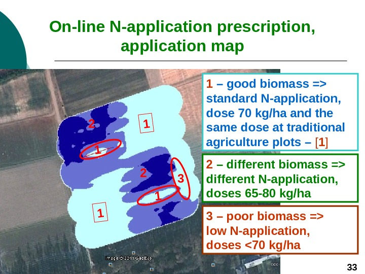 1 13 On-line N-application prescription, application map 1  – good biomass = standard