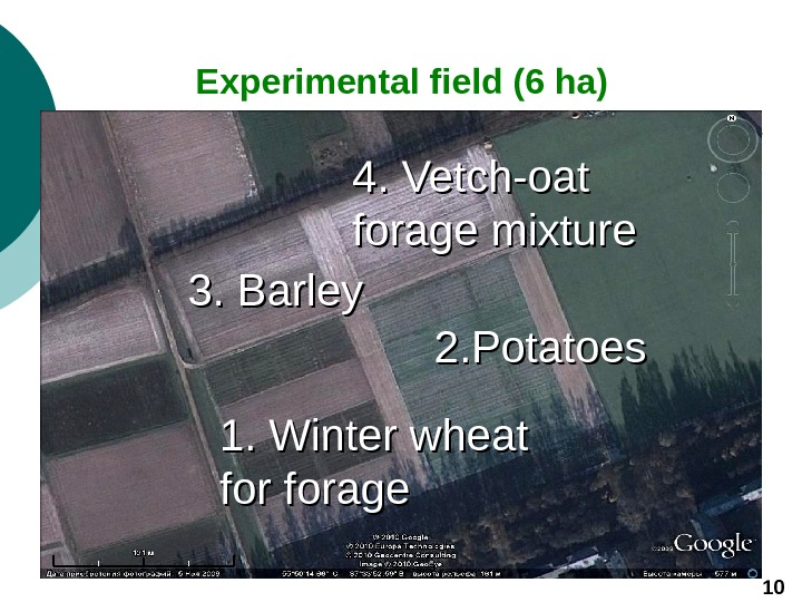 Experimental field (6 ha) 101. Winter wheat for forage 3. Barley 2.