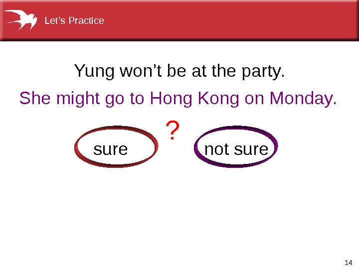 14 Shemightgoto. Hong. Kongon. Monday. Yungwon'tbeattheparty. notsure ? Let's. Practice