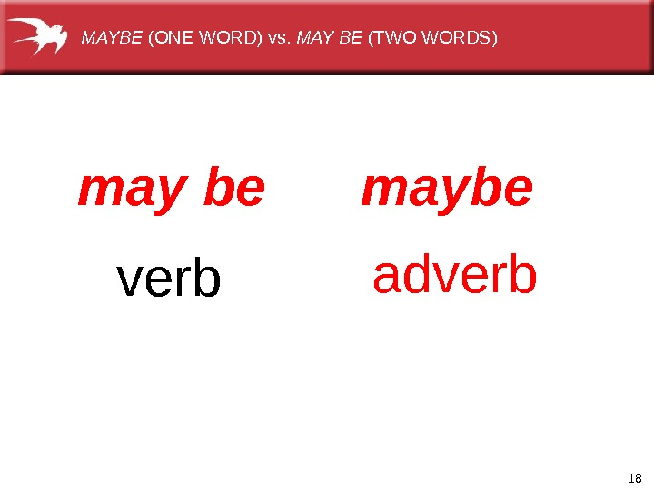 18 maybe adverbmay  be verb. MAYBE (ONEWORD)vs. MAY BE (TWOWORDS)
