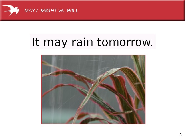 3 It may rain tomorrow. MAY / MIGHT vs. WILL