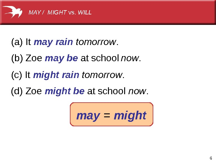 6(a)It may rain (b)Zoe may be atschool tomorrow. now. (c)It might rain tomorrow. (d)Zoe might be