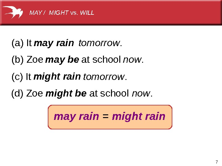 7(a)It (b)Zoeatschool tomorrow. now. (c)It tomorrow. (d)Zoeatschool now. may rain = might rainmay rain may be