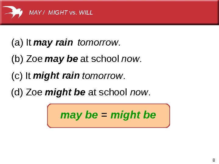 8(a)It (b)Zoeatschool tomorrow. now. (c)It tomorrow. (d)Zoeatschool now. may be = might bemay rain may be