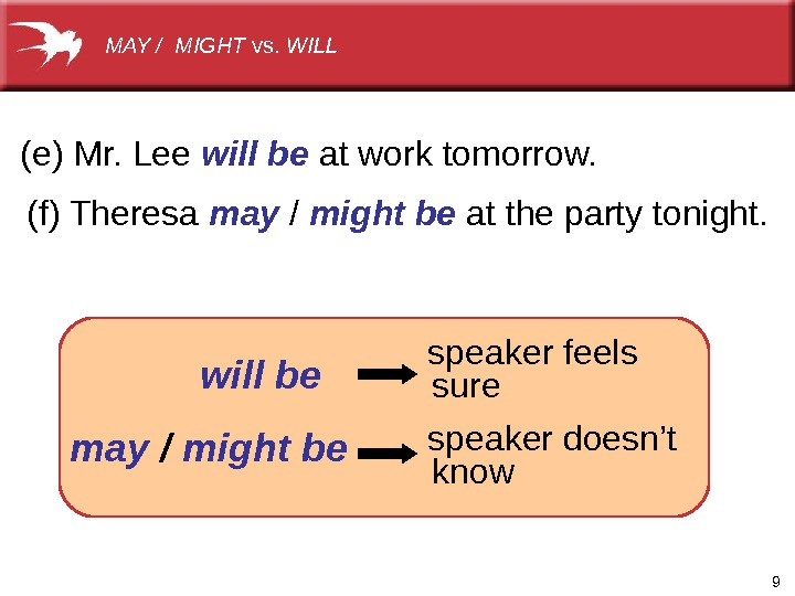 9(e)Mr. Lee will be atworktomorrow. (f)Theresa may / might be atthepartytonight.  speakerdoesn't may / might