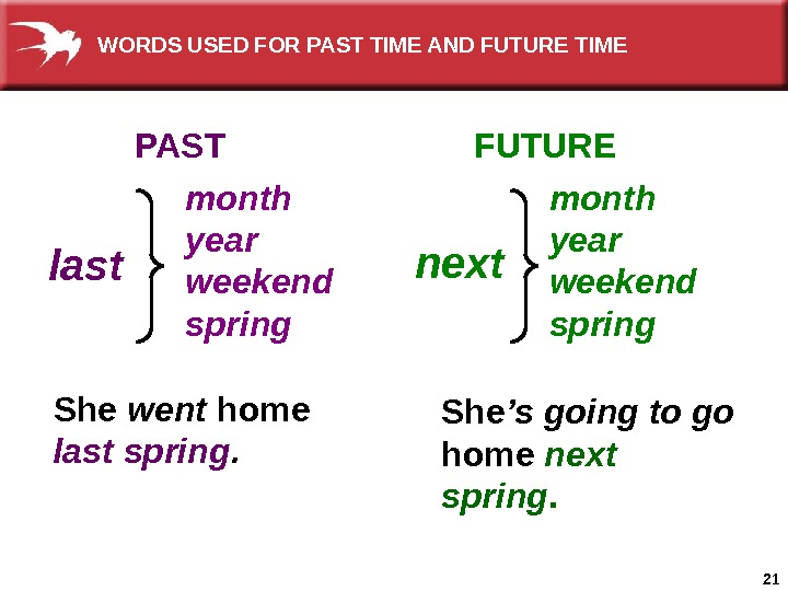 21 month year weekend spring   spring. PAST FUTURE last She went  home last