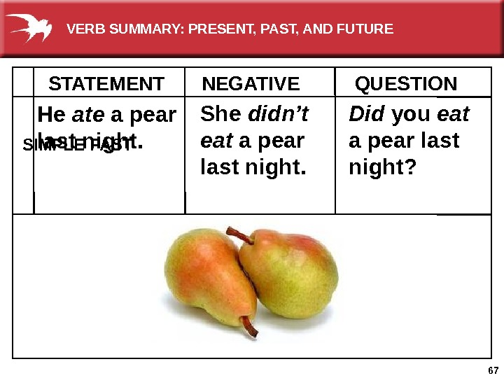 67 He ate a pear last night. She didn't eat a pear last night. Did you