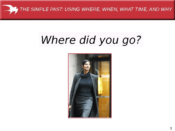 3 Where did you go?  THE SIMPLE PAST: USING WHERE, WHEN, WHAT TIME, AND WHY