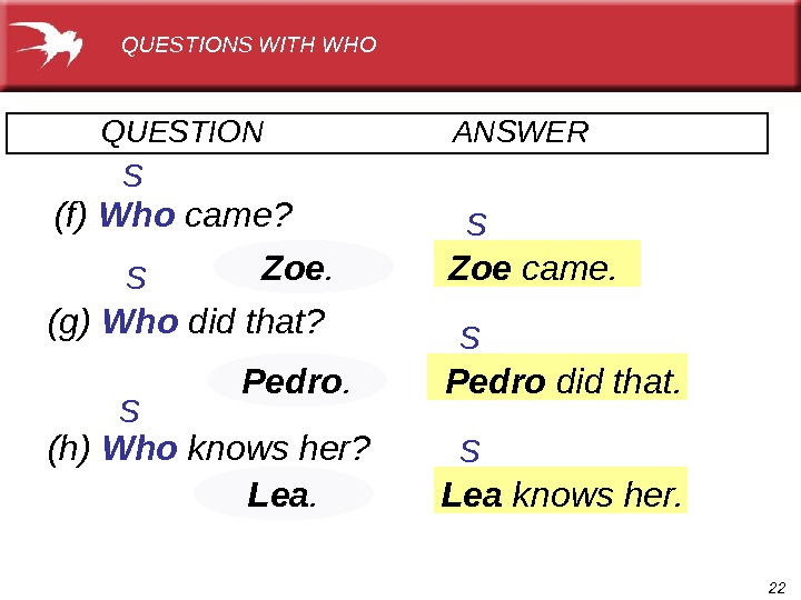 22 Pedro. QUESTION     ANSWER  (g) Who  did that? (h) Who