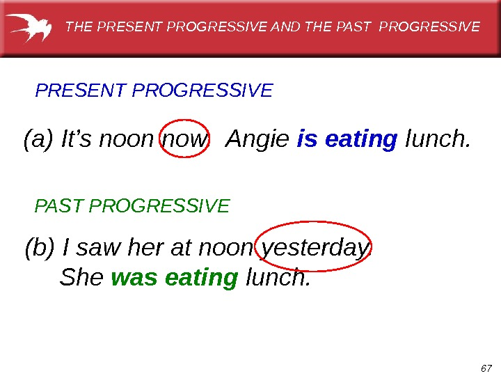 67(a) It's noon now.  Angie is eating lunch. PRESENT PROGRESSIVE (b) I saw her at
