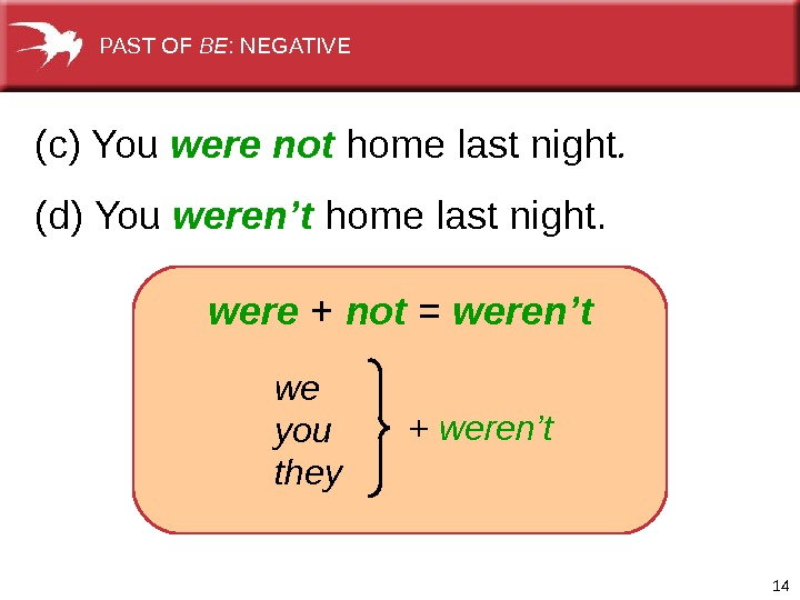 14(c) You were not home last night.  (d) You weren't home last night.