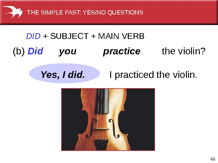 66 DID  +  SUBJECT + MAIN VERB (b) Did  you  practice