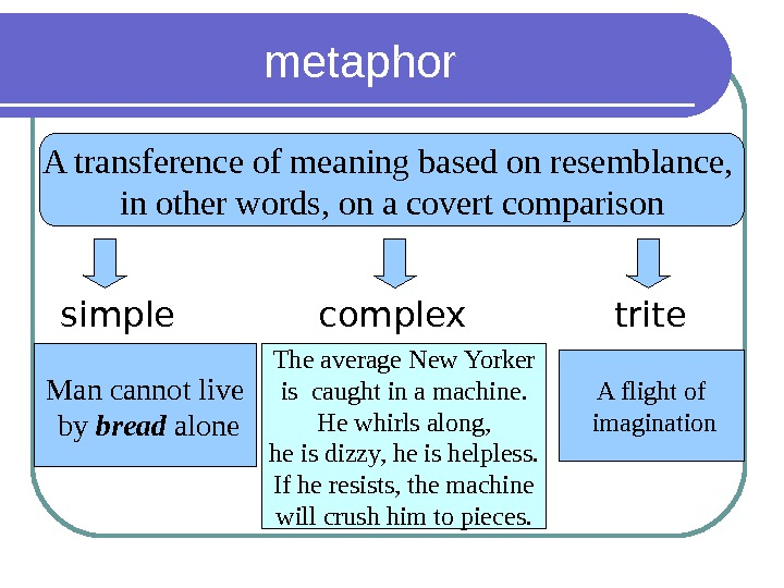 metaphor A transference of meaning based on resemblance,  in other words, on a covert comparison