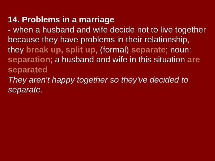14. Problems in a marriage - when a husband wife decide not to live