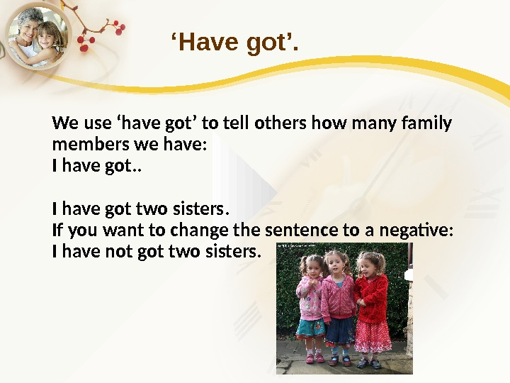 ' Have got'. We use 'have got' to tell others how many family