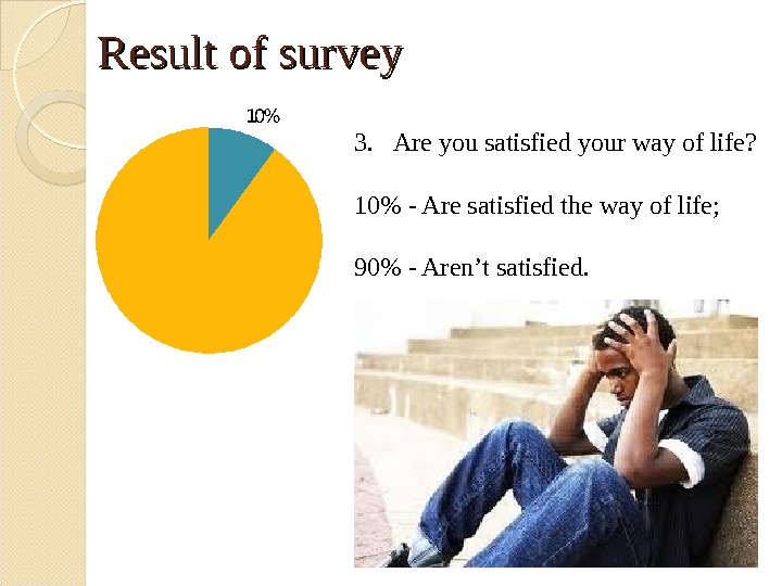 Result of survey 3. Are you satisfied your way of life? 10 - Are satisfied the