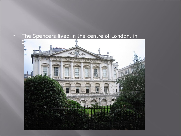 The Spencers lived in the centre of London, in Spencer-House.
