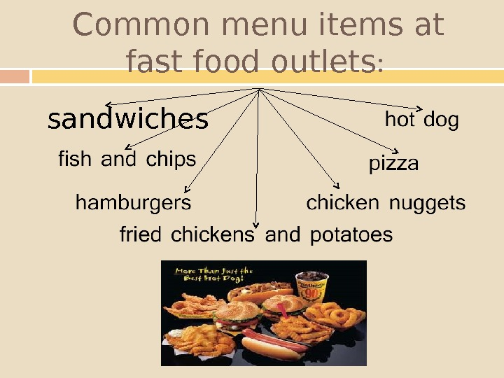 Common menu items at fast food outlets :  sandwiches