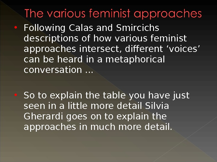 Following Calas and Smircichs descriptions of how various feminist approaches intersect, different 'voices' can be