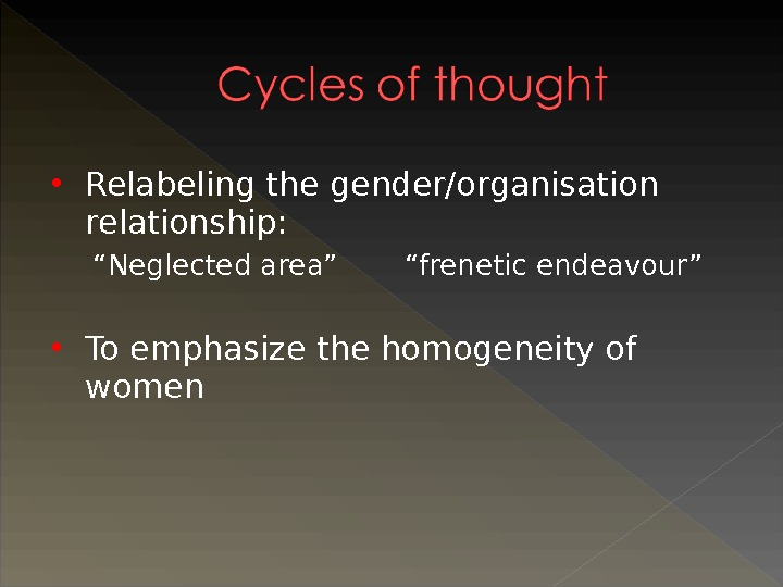 "Relabeling the gender/organisation relationship: "" Neglected area"" ""frenetic endeavour"" To emphasize the homogeneity of women"