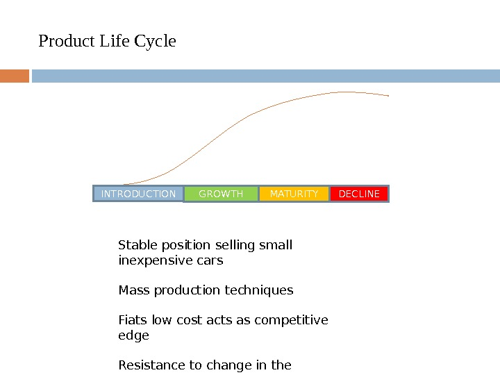 Product Life Cycle INTRODUCTION GROWTH MATURITY DECLINE Stable position selling small inexpensive cars  Mass production