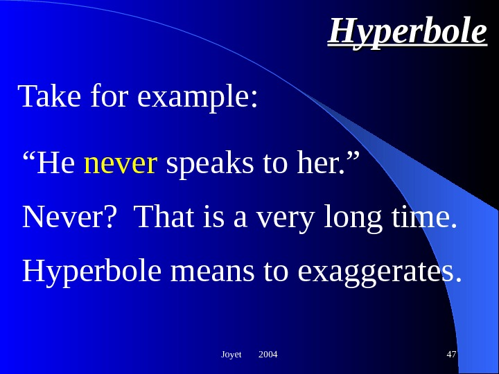 "Joyet  2004 47 Hyperbole "" He never speaks to her. "" Never?  That is"