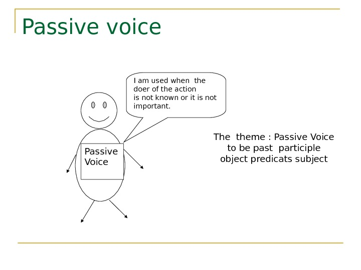 Passive voice Passive Voice I am used when the doer of the action is not known
