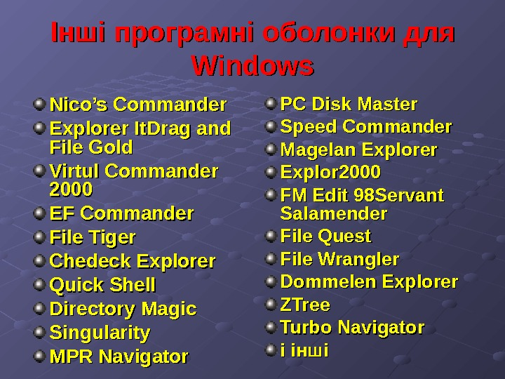 Інші програмні оболонки для Windows Nico's Commander Explorer It. Drag and File Gold Virtul Commander 2000