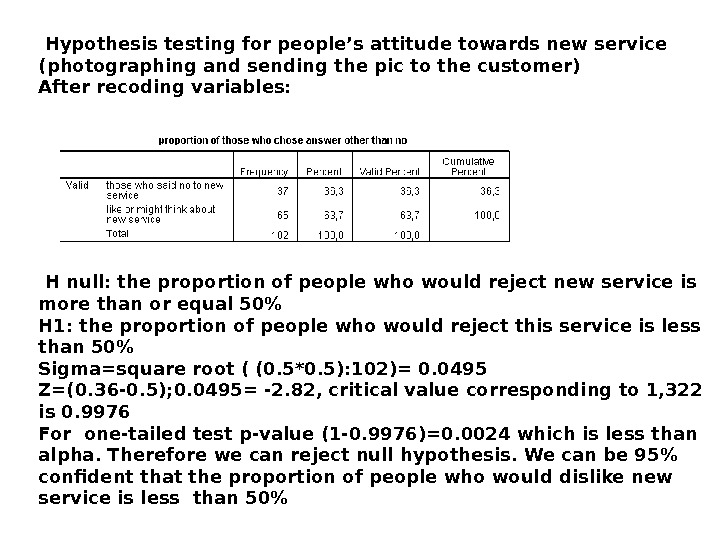 Hypothesis testing for people's attitude towards new service (photographing and sending the pic to the