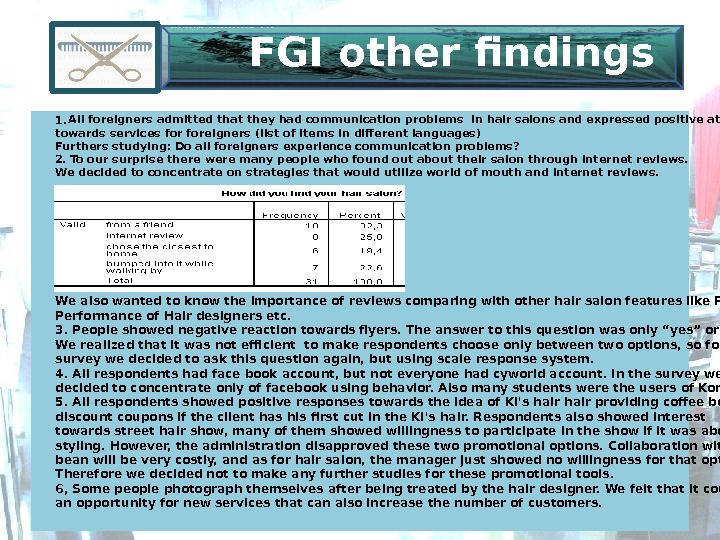 FGI other findings 1.  All foreigners admitted that they had communication problems in hair salons