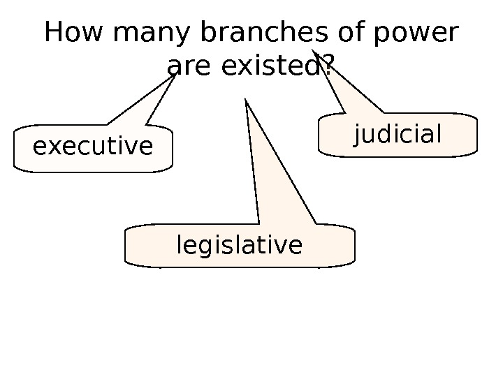 How many branches of power are existed? executive legislative judicial