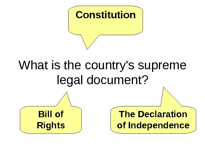What is the country's supreme legal document? Constitution Bill of Rights The Declaration of