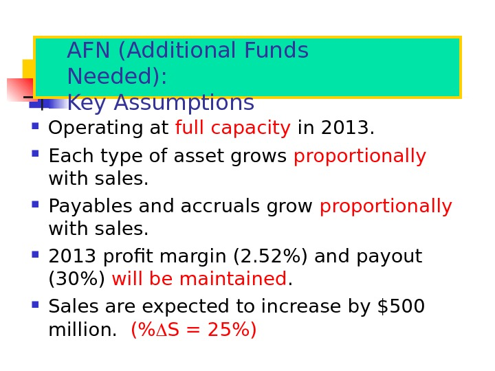AFN (Additional Funds Needed): Key Assumptions Operating at full capacity in 2013.  Each type of