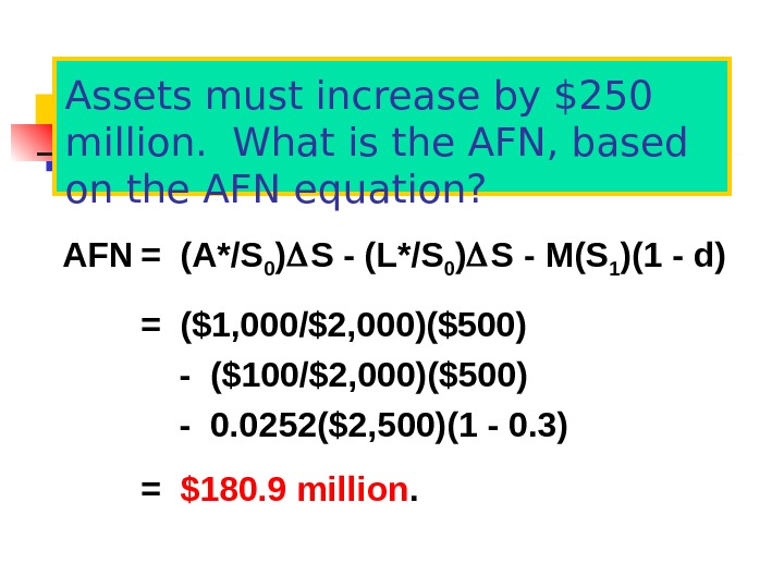 Assets must increase by $250 million.  What is the AFN, based on the AFN equation?