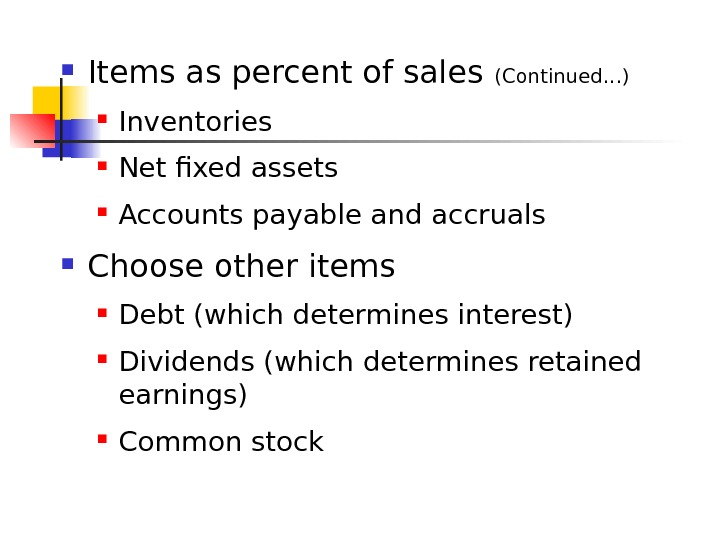 Items as percent of sales (Continued. . . ) Inventories Net fixed assets Accounts payable