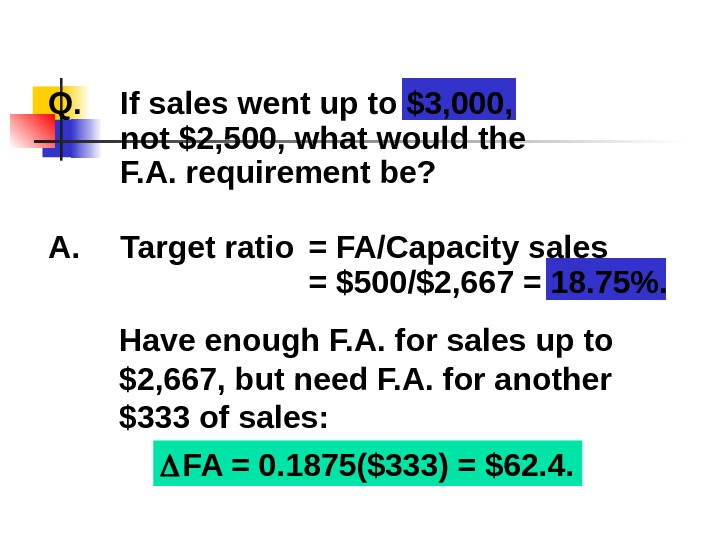 Q. If sales went up to $3, 000,  not $2, 500, what would the F.