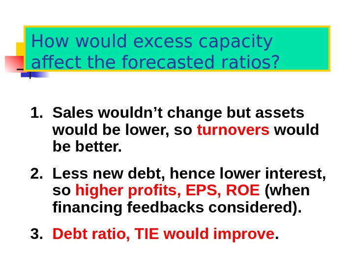 How would excess capacity affect the forecasted ratios? 1. Sales wouldn't change but assets would be
