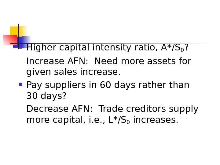 Higher capital intensity ratio, A*/S 0 ? Increase AFN:  Need more assets for given
