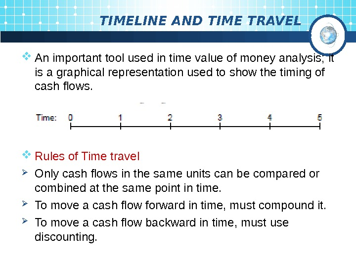 TIMELINE AND TIME TRAVEL An important tool used in time  value of money