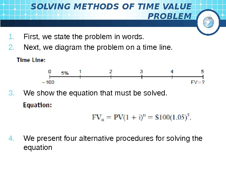 SOLVING METHODS OF TIME VALUE PROBLEM 1. First, we state the problem in words.