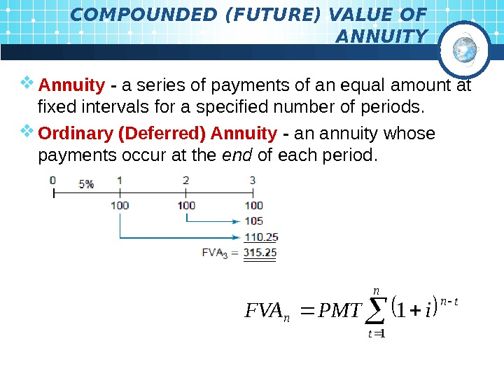 COMPOUNDED (FUTURE) VALUE OF ANNUITY Annuity - a series of payments of an equal