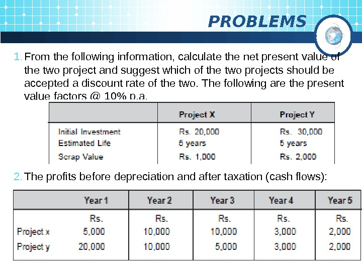 PROBLEMS 1. From the following information, calculate the net present value of the two
