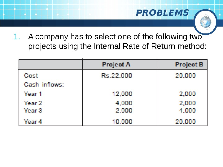 PROBLEMS 1. A company has to select one of the following two projects