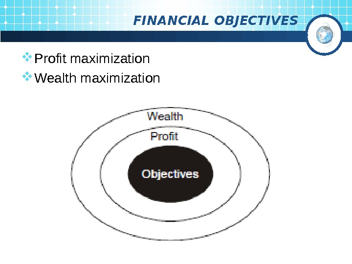 FINANCIAL OBJECTIVES Profit maximization Wealth maximization