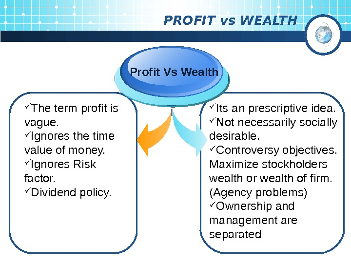 PROFIT vs WEALTH The term profit is vague.  Ignores the time value of
