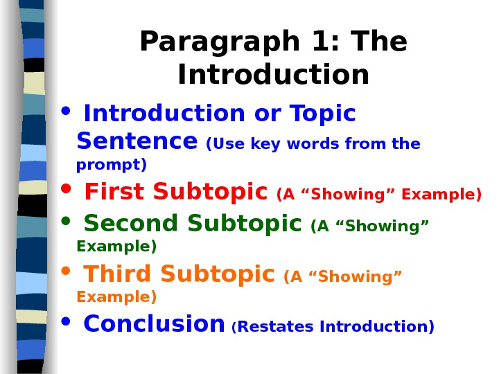 Paragraph 1: The Introduction or Topic Sentence  (Use key words from the prompt)  First