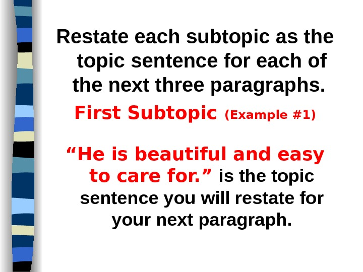 Restate each subtopic as the topic sentence for each of the next three paragraphs.  First