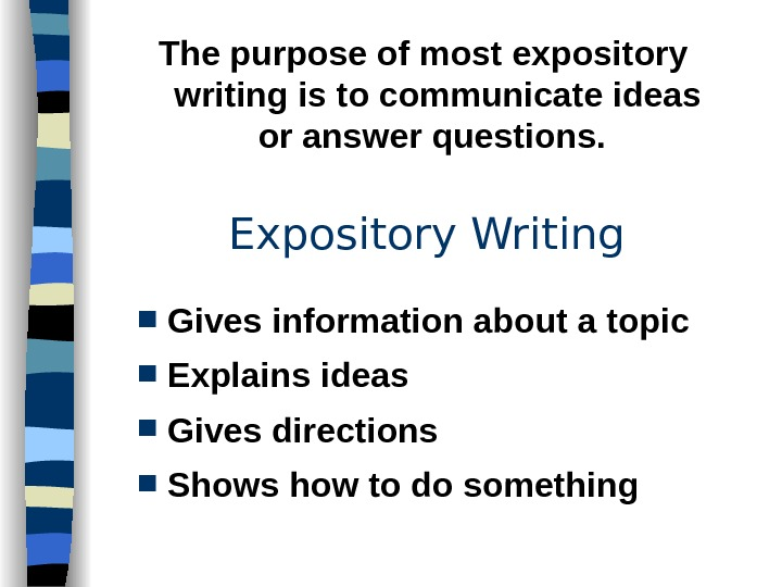 Expository Writing Gives information about a topic Explains ideas Gives directions Shows how to do something.