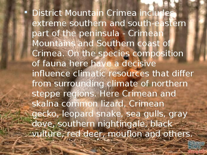 District Mountain Crimea includes extreme southern and south-eastern part of the peninsula - Crimean Mountains